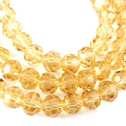 Wholesale Crystal Glass Beads 4mm Round Faceted Beads, Citrine Color