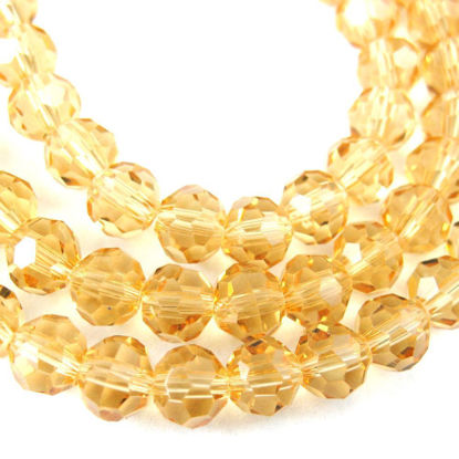 Wholesale Crystal Glass Beads 8mm Round Faceted Beads, Citrine Color