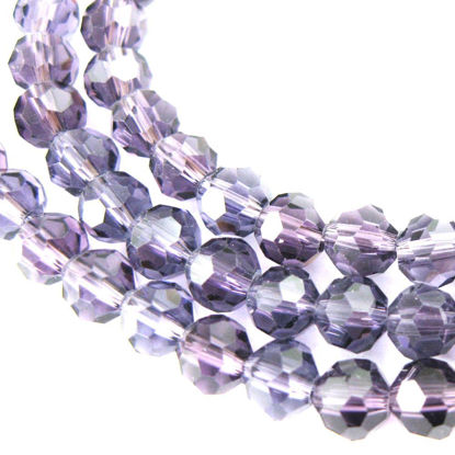 Wholesale Crystal Glass Beads 6mm Round Faceted Beads, Dark Violet Color