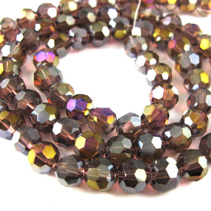 Wholesale Crystal Glass Beads 8mm Round Faceted Beads, Dark Red Violet, Crystal AB