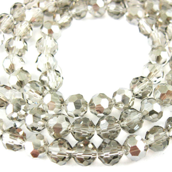 Wholesale Crystal Glass Beads 8mm Round Faceted Beads, Grey Color