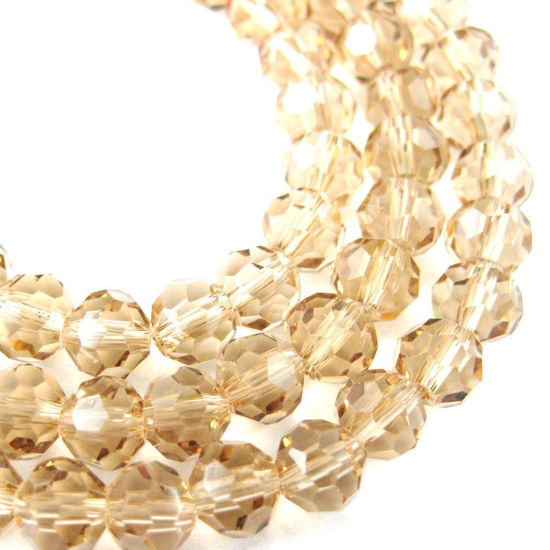 Wholesale Crystal Glass Beads 8mm Round Faceted Beads, Champagne Color