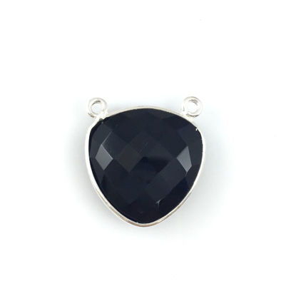 Wholesale Sterling Silver Black Onyx Large Trillion Shaped Bezel Gemstone Connector Links, Wholesale Gemstone Charms and Pendants for Jewelry Making