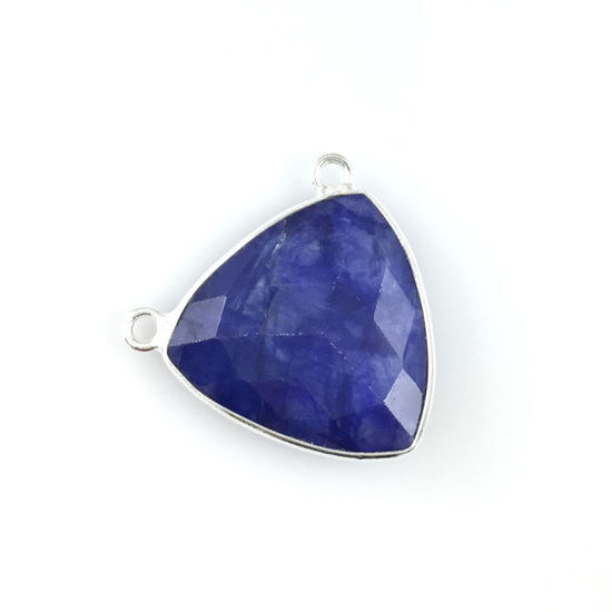 Wholesale Sterling Silver Blue Sapphire Dyed Large Trillion Shaped Bezel Gemstone Connector Links, Wholesale Gemstone Charms and Pendants for Jewelry Making