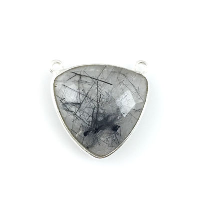 Wholesale Sterling Silver Black Rutilated Quartz Large Trillion Shaped Bezel Gemstone Connector Links, Wholesale Gemstone Charms and Pendants for Jewelry Making