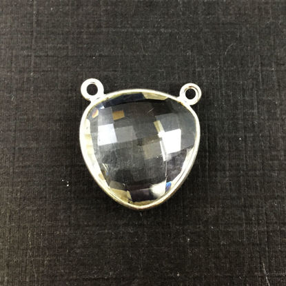 Wholesale Sterling Silver Crystal Quartz Large Trillion Shaped Bezel Gemstone Connector Links, Wholesale Gemstone Charms and Pendants for Jewelry Making
