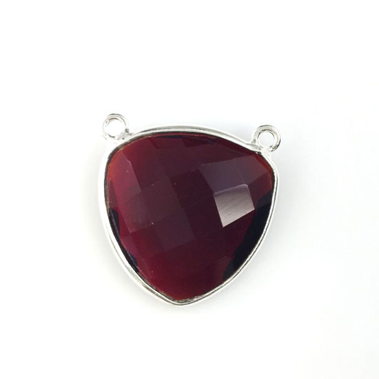 Wholesale Sterling Silver Garnet Quartz Large Trillion Shaped Bezel Gemstone Connector Links, Wholesale Gemstone Charms and Pendants for Jewelry Making