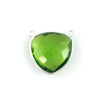 Wholesale Sterling Silver Peridot Quartz Large Trillion Shaped Bezel Gemstone Connector Links, Wholesale Gemstone Charms and Pendants for Jewelry Making