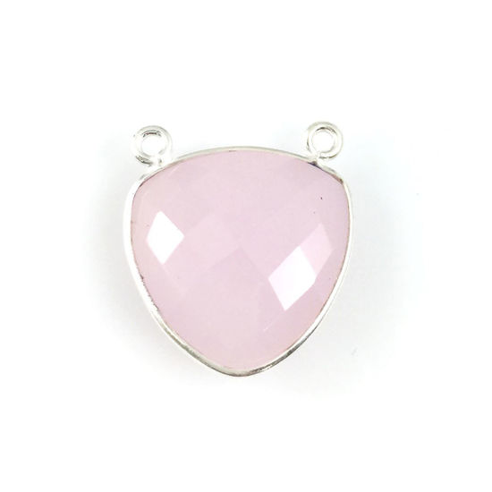 Wholesale Sterling Silver Pink Chalcedony Large Trillion Shaped Bezel Gemstone Connector Links, Wholesale Gemstone Charms and Pendants for Jewelry Making