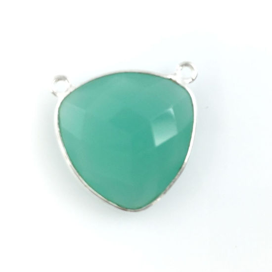 Wholesale Sterling Silver Peru Chalcedony Large Trillion Shaped Bezel Gemstone Connector Links, Wholesale Gemstone Charms and Pendants for Jewelry Making