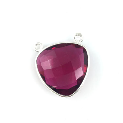 Wholesale Sterling Silver Rubylite Quartz Large Trillion Shaped Bezel Gemstone Connector Links, Wholesale Gemstone Charms and Pendants for Jewelry Making