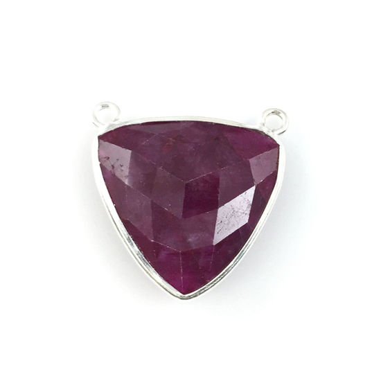 Wholesale Sterling Silver Ruby Dyed Large Trillion Shaped Bezel Gemstone Connector Links, Wholesale Gemstone Charms and Pendants for Jewelry Making