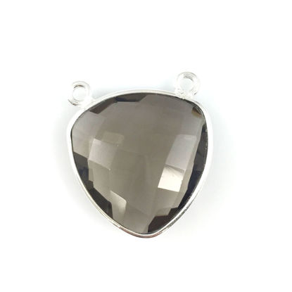 Wholesale Sterling Silver Smokey Quartz Large Trillion Shaped Bezel Gemstone Connector Links, Wholesale Gemstone Charms and Pendants for Jewelry Making