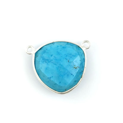 Wholesale Sterling Silver Turquoise Large Trillion Shaped Bezel Gemstone Connector Links, Wholesale Gemstone Charms and Pendants for Jewelry Making