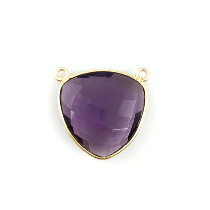 Wholesale Bezel Gemstone Connector Pendant - Amethyst Quartz - Gold Vermeil - Large Trillion Shaped Faceted - 18 mm