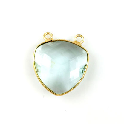 Wholesale Bezel Gemstone Connector Pendant - Aqua Quartz - Gold Vermeil - Large Trillion Shaped Faceted - 18 mm