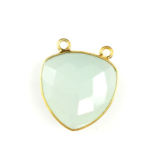 Wholesale Gold plated Sterling Silver Aqua Chalcedony Large Trillion Shaped Bezel Gemstone Connector Links, Wholesale Gemstone Charms and Pendants for Jewelry Making