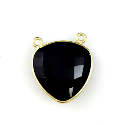 Wholesale Bezel Gemstone Connector Pendant - Black Onyx - Gold Vermeil - Large Trillion Shaped Faceted - 18 mm