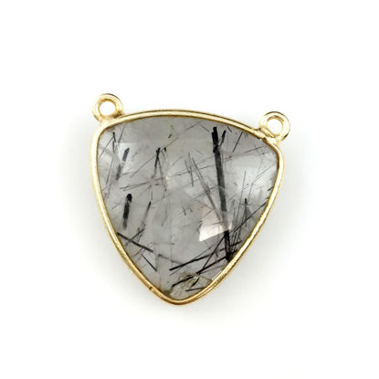 Wholesale Bezel Gemstone Connector Pendant - Black Rutilated Quartz - Gold Vermeil - Large Trillion Shaped Faceted - 18 mm