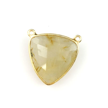 Wholesale Gold plated Sterling Silver Gold Rutilated Quartz Large Trillion Shaped Bezel Gemstone Connector Links, Wholesale Gemstone Charms and Pendants for Jewelry Making