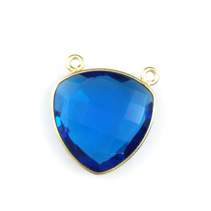 Wholesale Bezel Gemstone Connector Pendant - Blue Quartz - Gold Vermeil - Large Trillion Shaped Faceted - 18 mm