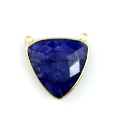 Wholesale Bezel Gemstone Connector Pendant - Blue Sapphire Dyed - Gold Vermeil - Large Trillion Shaped Faceted - 18 mm