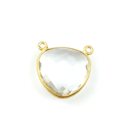 Wholesale Bezel Gemstone Connector Pendant - Crystal Quartz - Gold Vermeil - Large Trillion Shaped Faceted - 18 mm