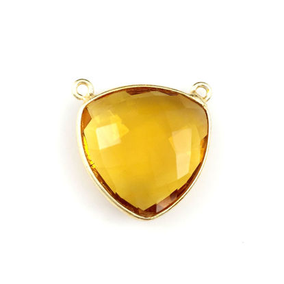 Wholesale Bezel Gemstone Connector Pendant - Citrine Quartz - Gold Vermeil - Large Trillion Shaped Faceted - 18 mm
