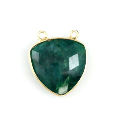 Wholesale Bezel Gemstone Connector Pendant - Emerald Dyed- Gold Vermeil - Large Trillion Shaped Faceted - 18 mm