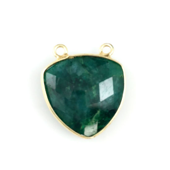 Wholesale Gold plated Sterling Silver Emerald Dyed Large Trillion Shaped Bezel Gemstone Connector Links, Wholesale Gemstone Charms and Pendants for Jewelry Making