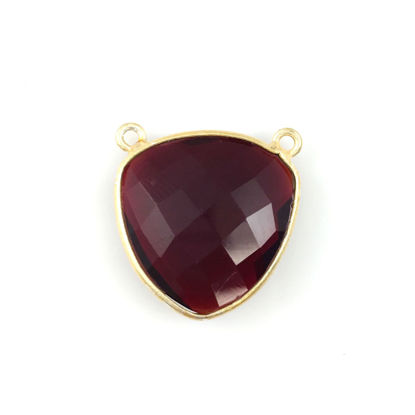 Wholesale Bezel Gemstone Connector Pendant - Garnet Quartz - Gold Vermeil - Large Trillion Shaped Faceted - 18 mm