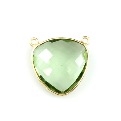 Wholesale Gold plated Sterling Silver Green Amethyst Quartz Large Trillion Shaped Bezel Gemstone Connector Links, Wholesale Gemstone Charms and Pendants for Jewelry Making