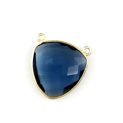 Wholesale Gold plated Sterling Silver Iolite Quartz Large Trillion Shaped Bezel Gemstone Connector Links, Wholesale Gemstone Charms and Pendants for Jewelry Making