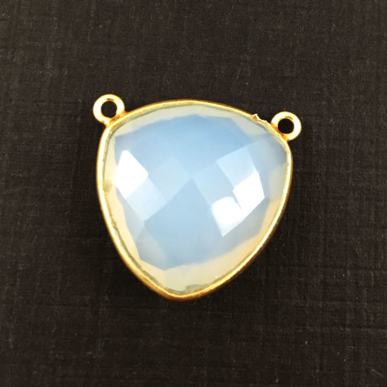 Wholesale Gold plated Sterling Silver Opalite Quartz Large Trillion Shaped Bezel Gemstone Connector Links, Wholesale Gemstone Charms and Pendants for Jewelry Making