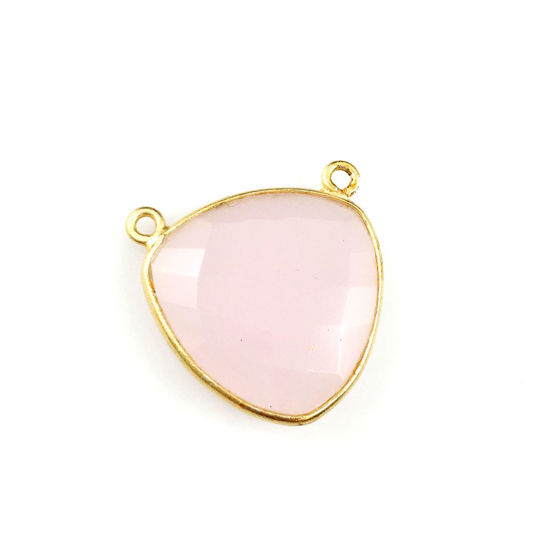 Wholesale Gold plated Sterling Silver Pink Chlacedony Large Trillion Shaped Bezel Gemstone Connector Links, Wholesale Gemstone Charms and Pendants for Jewelry Making