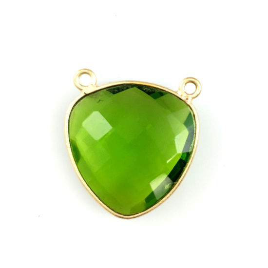 Wholesale Gold plated Sterling Silver Peridot Quartz Large Trillion Shaped Bezel Gemstone Connector Links, Wholesale Gemstone Charms and Pendants for Jewelry Making