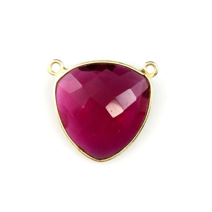 Wholesale Gold plated Sterling Silver Rubylite Quartz Large Trillion Shaped Bezel Gemstone Connector Links, Wholesale Gemstone Charms and Pendants for Jewelry Making