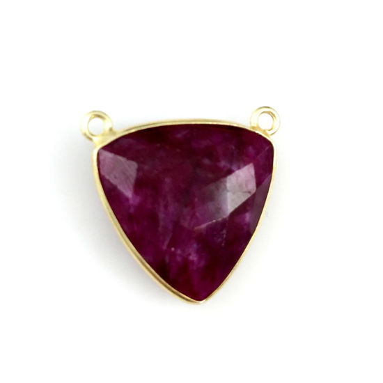 Wholesale Gold plated Sterling Silver Ruby Dyed Large Trillion Shaped Bezel Gemstone Connector Links, Wholesale Gemstone Charms and Pendants for Jewelry Making