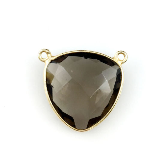 Wholesale Gold plated Sterling Silver Smokey Quartz Large Trillion Shaped Bezel Gemstone Connector Links, Wholesale Gemstone Charms and Pendants for Jewelry Making