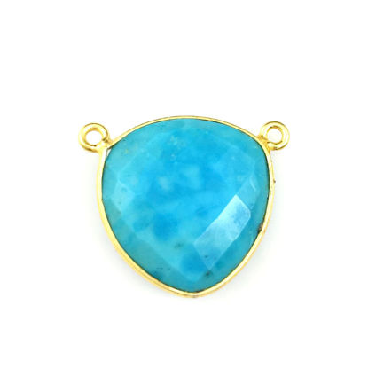 Wholesale Gold plated Sterling Silver Turquoise Large Trillion Shaped Bezel Gemstone Connector Links, Wholesale Gemstone Charms and Pendants for Jewelry Making