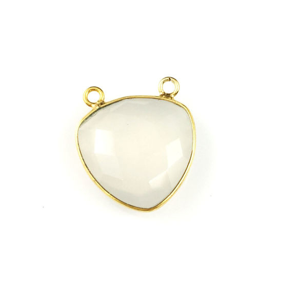 Wholesale Gold plated Sterling Silver White Chalcedony Large Trillion Shaped Bezel Gemstone Connector Links, Wholesale Gemstone Charms and Pendants for Jewelry Making
