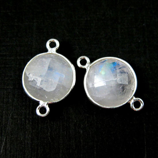 Wholesale Sterling Silver Black Rutilated Quartz Coin Bezel Gemstone Connector Links, Wholesale Gemstone Charms and Pendants for Jewelry Making