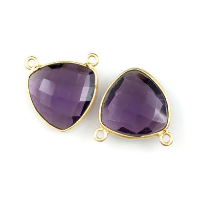 Wholesale Bezel Gemstone Connector Pendant - Amethyst Quartz - Gold Vermeil - Small Trillion Shaped Faceted - 15 mm - 1 piece