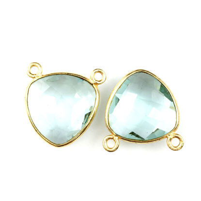 Wholesale Bezel Gemstone Connector Pendant - Aqua Quartz - Gold Vermeil - Small Trillion Shaped Faceted - 15 mm - 1 piece