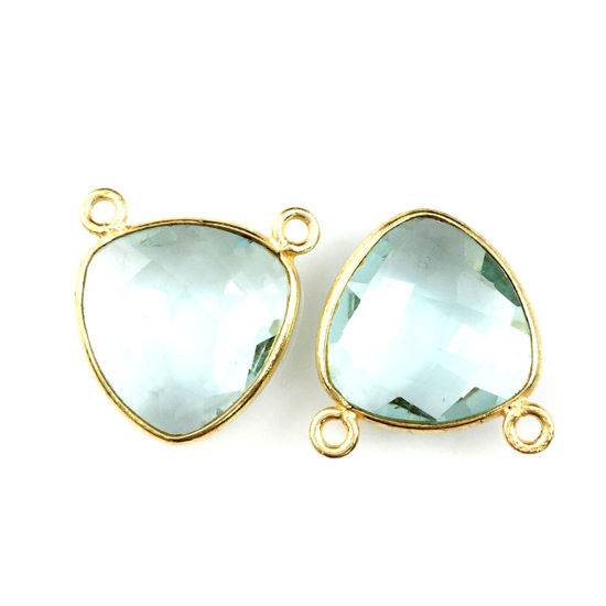 Wholesale Gold plated Sterling Silver Aqua Quartz Small Trillion Shaped Bezel Gemstone Connector Links, Wholesale Gemstone Charms and Pendants for Jewelry Making