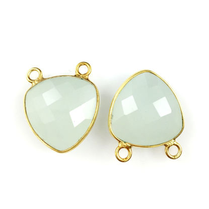 Wholesale Bezel Gemstone Connector Pendant - Aqua Chalcedony - Gold Vermeil - Small Trillion Shaped Faceted - 15 mm - 1 piece