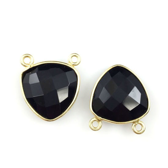 Wholesale Gold plated Sterling Silver Black Onyx Small Trillion Shaped Bezel Gemstone Connector Links, Wholesale Gemstone Charms and Pendants for Jewelry Making