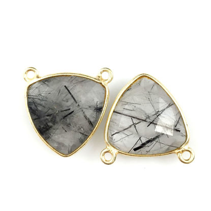 Wholesale Bezel Gemstone Connector Pendant - Black Rutilated Quartz - Gold Vermeil - Small Trillion Shaped Faceted - 15 mm - 1 piece