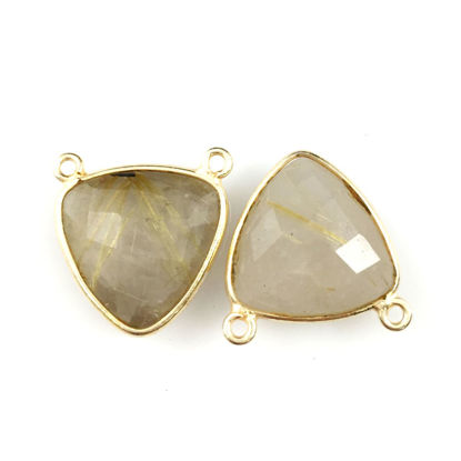 Wholesale Bezel Gemstone Connector Pendant - Gold Rutilated Quartz - Gold Vermeil - Small Trillion Shaped Faceted - 15 mm - 1 piece