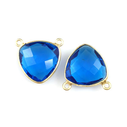 Wholesale Bezel Gemstone Connector Pendant - Blue Quartz - Gold Vermeil - Small Trillion Shaped Faceted - 15 mm - 1 piece